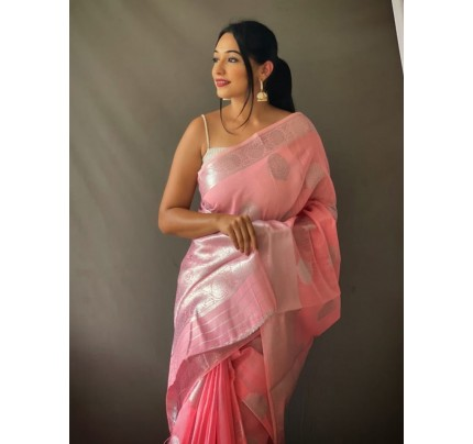 Stylish Pink Coloured Linen Tissue Silk Saree gnp0108407