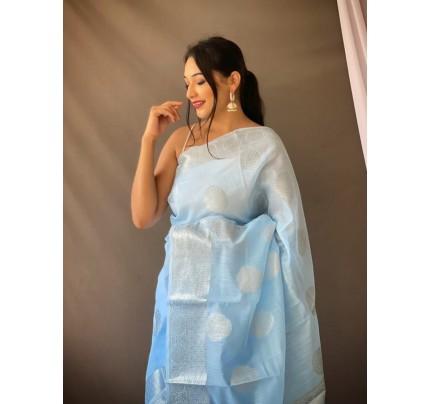 Stylish Sky Blue Coloured Linen Tissue Silk Saree gnp0108409