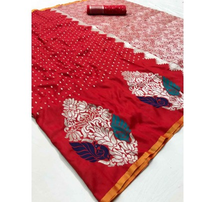 Traditional Red Colored Wedding Soft Silk Saree