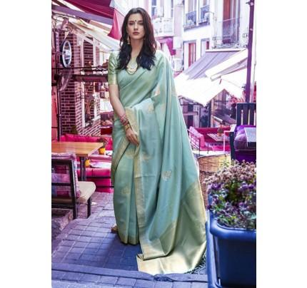 Trendy Blue Color Banarasi Silk Women's Saree