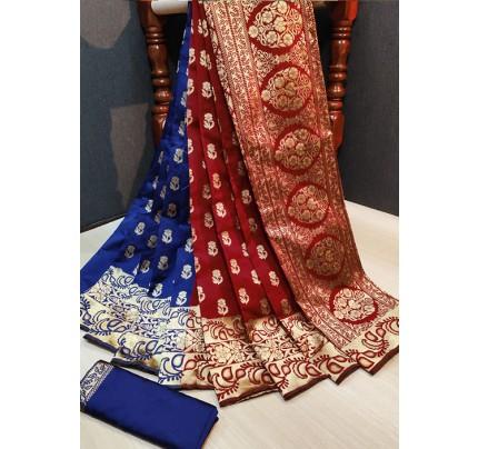 Trendy Blue Maroon Color Banarasi Silk Women's Saree