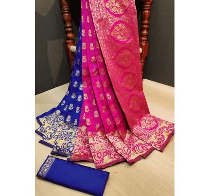 Trendy Blue Pink Color Banarasi Silk Women's Saree