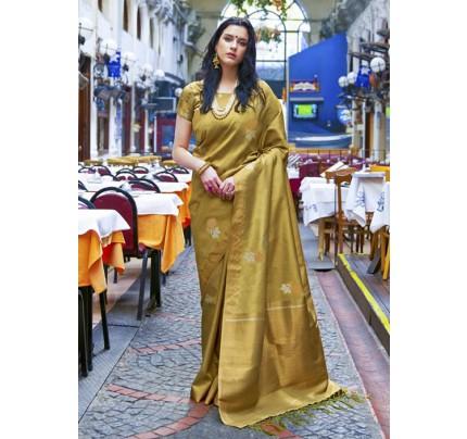 Trendy Mahendi Color Banarasi Silk Women's Saree