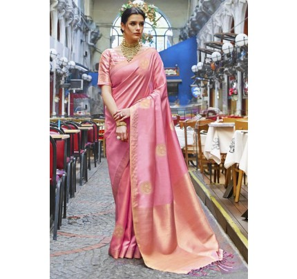 Trendy Pink Color Banarasi Silk Women's Saree