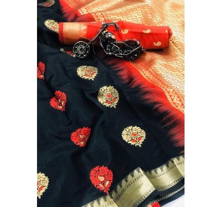 Women's Black Woven Soft and Silky Litchi Silk Saree