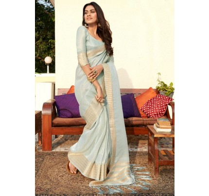 Women's Blue Colored Soft Tissue Zari With Doube Blouse Saree