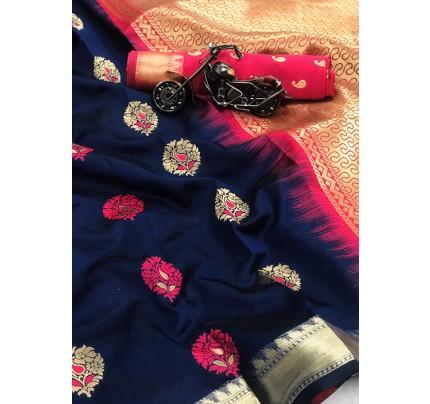 Women's Blue Woven Soft and Silky Litchi Silk Saree