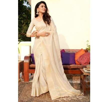 Women's Cream Colored Soft Tissue Zari With Doube Blouse Saree