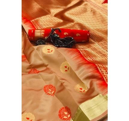Women's Cream Woven Soft and Silky Litchi Silk Saree