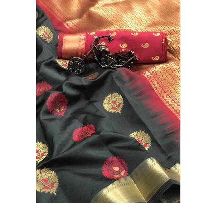 Women's Grey Woven Soft and Silky Litchi Silk Saree