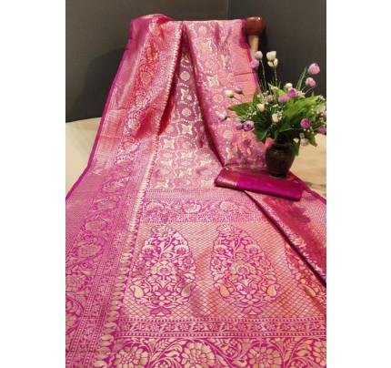 Women's Pink color Banarasi Saree with Blouse Piece