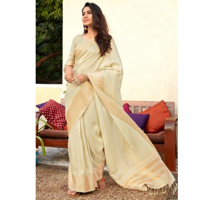 Women's Pista Colored Soft Tissue Zari With Doube Blouse Saree