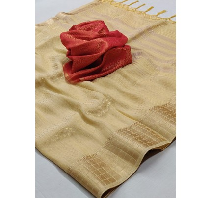 Women's Yellow Colored Soft Tissue Zari With Doube Blouse Saree