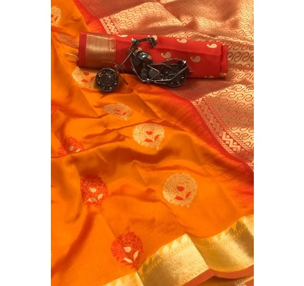 Women's Yellow Woven Soft and Silky Litchi Silk Saree