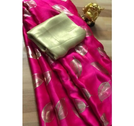 Pink satin silk saree with golden satin Blouse - silk sarees online