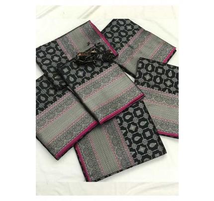 Women's Banarasi silk Weaving jacquard saree in Black gnp005880