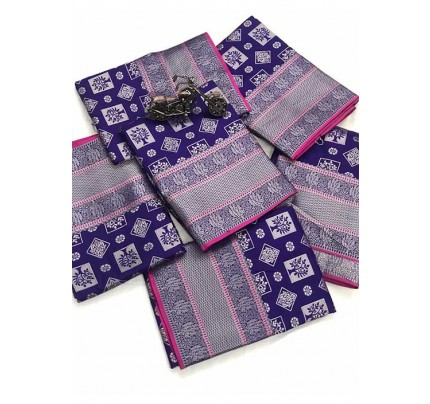 Women's Banarasi silk Weaving jacquard saree in Blue gnp005882