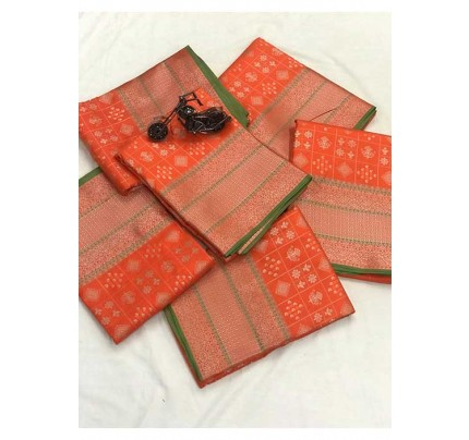 Women's Banarasi silk Weaving jacquard saree in Orange gnp005883