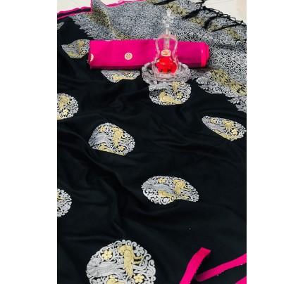 Women's Banarasi silk Weaving saree in Black gnp007270