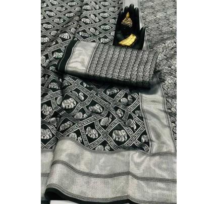 Women's Banarasi silk Weaving saree in Black - gnp007651