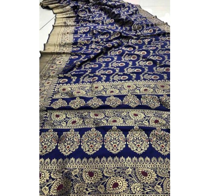 Women's Banarasi silk Weaving saree in Blue gnp007353