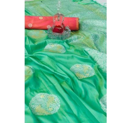 Women's Banarasi silk Weaving saree in Green gnp007273
