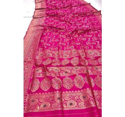 Women's Banarasi silk Weaving saree in Pink gnp007355