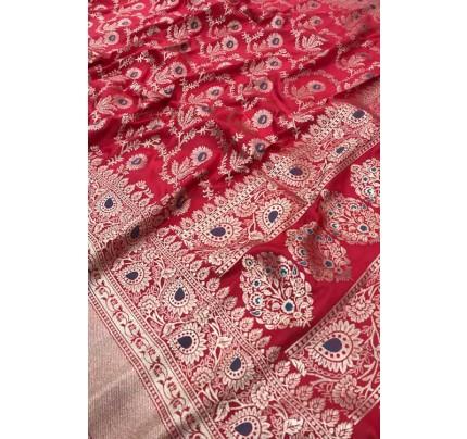Women's Banarasi silk Weaving saree in Pink gnp007356