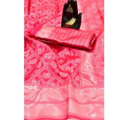 Women's Banarasi silk Weaving saree in Pink - gnp007653