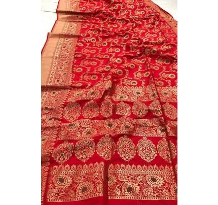 Women's Banarasi silk Weaving saree in Red gnp007357
