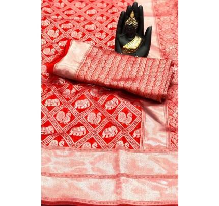 Women's Banarasi silk Weaving saree in Red- gnp007656