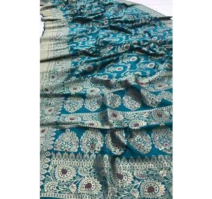 Women's Banarasi silk Weaving saree in Sea Green gnp007358
