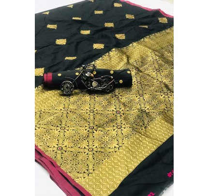 Women's Banarasi woven Silk saree in Black - New design saree online gnp005977