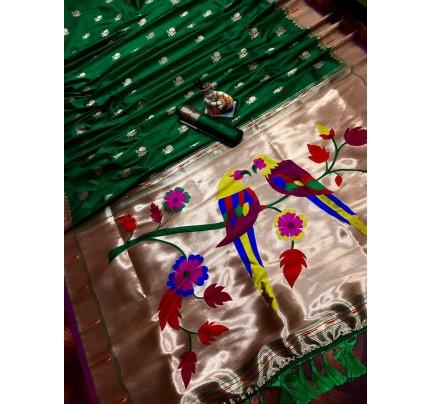 Women's Green Kanchipuram saree gnp0107186 | GrabandPack