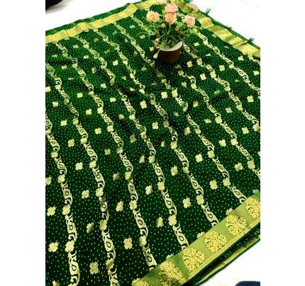 women's Green marbal chiffon foil printed saree gnp0107735