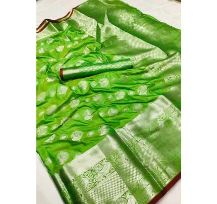 Women's Lichi silk weaving saree in Green - silk sarees Online - gnp005980
