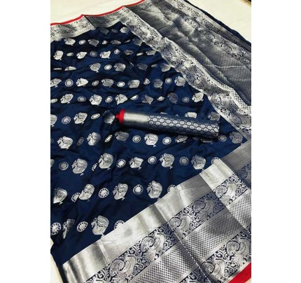 Women's Lichi silk weaving saree in Navy Blue - silk sarees Online - gnp005982