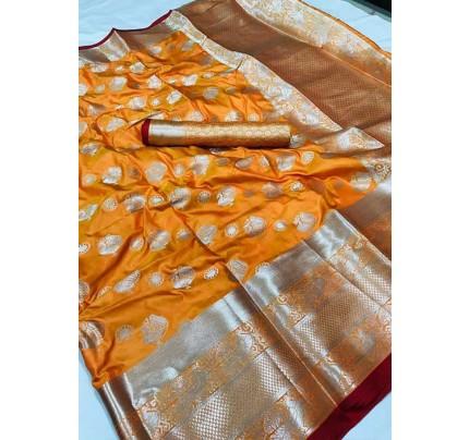 Women's Lichi silk weaving saree in Orange - silk sarees Online - gnp005986