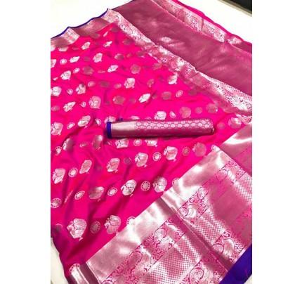 Women's Lichi silk weaving saree in Pink - silk sarees Online - gnp005978