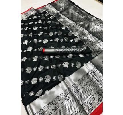 Women's Lichi silk weaving saree in Black - silk sarees Online - gnp005979