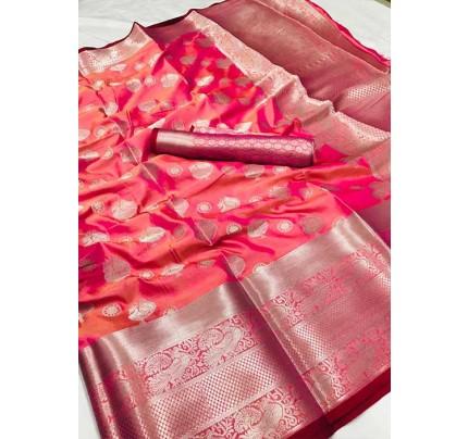 Women's Lichi silk weaving saree in Pink - silk sarees Online - gnp005987