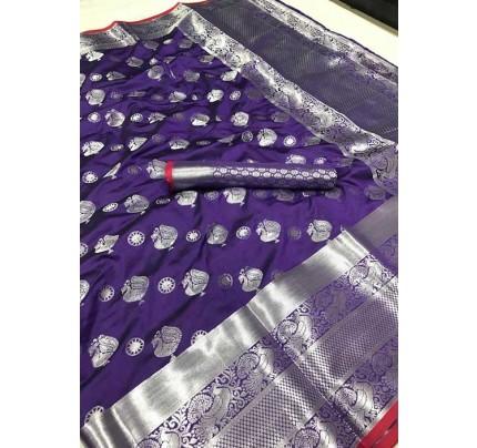 Women's Lichi silk weaving saree in Purple - silk sarees Online - gnp005981