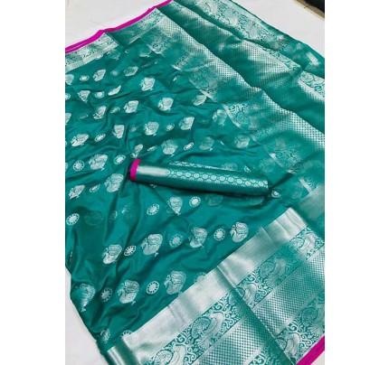 Women's Lichi silk weaving saree in Sea Green - silk sarees Online - gnp005985