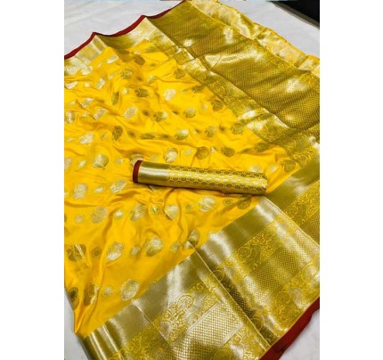 Women's Lichi silk weaving saree in Yellow - silk sarees Online - gnp005984
