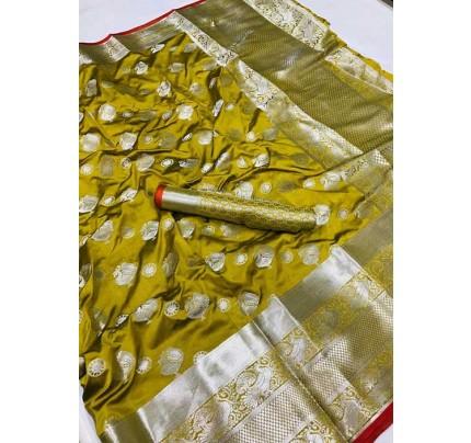 Women's Lichi silk weaving saree in Yellow - silk sarees Online - gnp005988