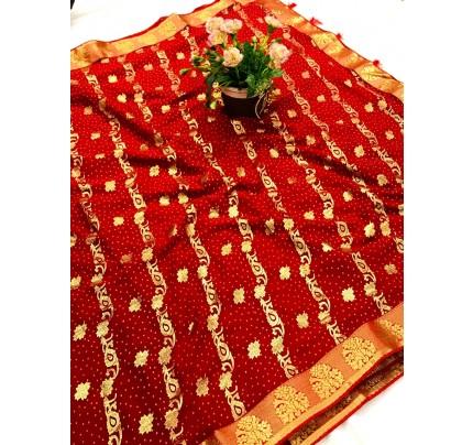 women's Maroon marbal chiffon foil printed saree gnp0107736