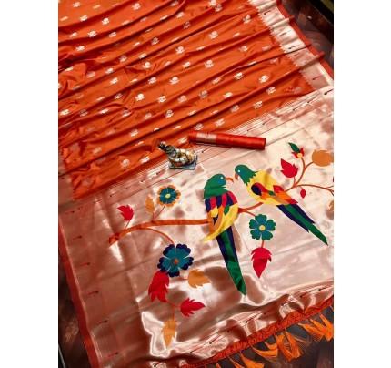 Women's Orange Kanchipuram saree gnp0107187 | GrabandPack