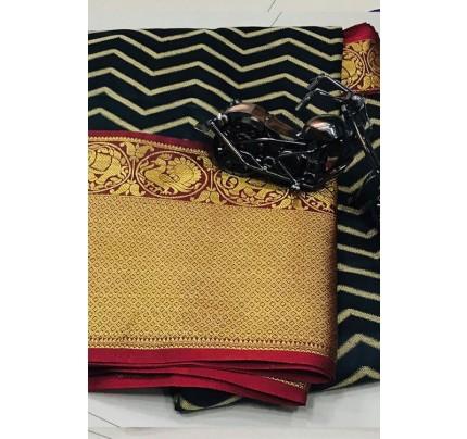 Womens Party Wear Black Color Silk Weaving Saree - gnp006834