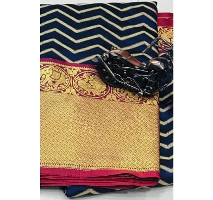 Women's Party Wear Blue Color Silk Weaving Saree - gnp006837