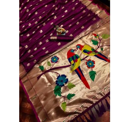 Women's Purple Kanchipuram saree gnp0107184 | GrabandPack